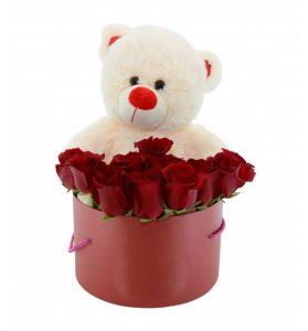 livrare flori in cutie cu uruslet de plus